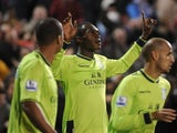 Christian Benteke celebrates scoring the winner for Aston Villa