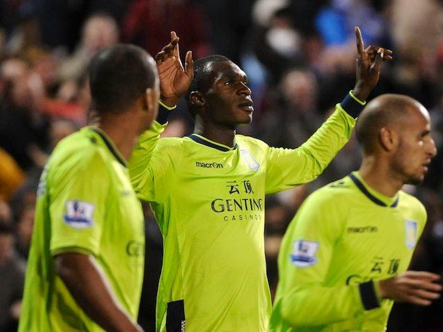 Christian Benteke celebrates scoring the winner for Aston Villa