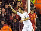 Chico celebrates scoring for Swansea