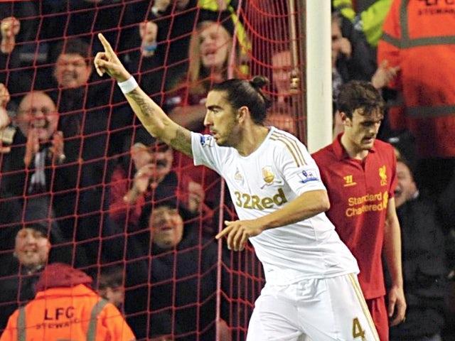 Chico celebrates scoring for Swansea
