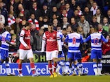 Francis Coquelin and Ignasi Miquel looking miserable as Reading celebrate