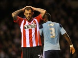 Sunderland's Steven Fletcher is disappointed after missing a chance