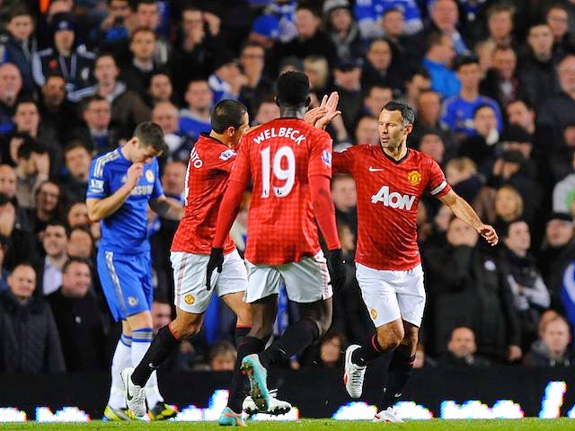Ryan Giggs celebrates scoring United's first