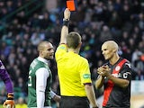 Jim Goodwin is sent off for St Mirren