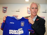 New Ipswich manager Mick McCarthy holding a shirt