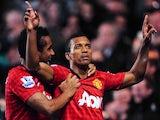 Luis Nani celebrates scoring United's third