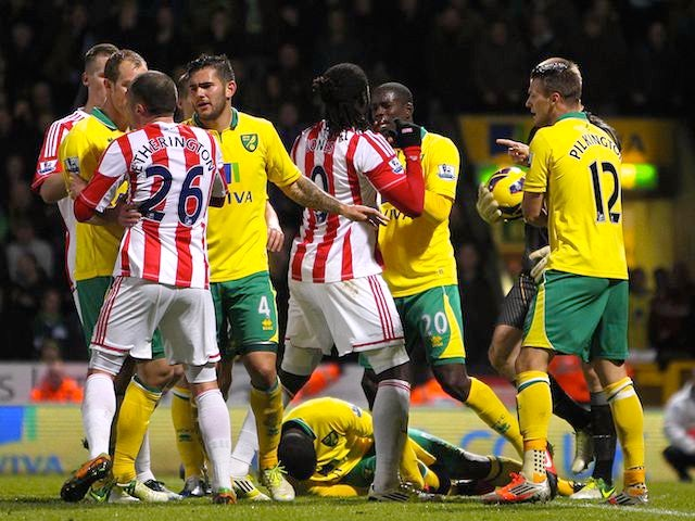 Norwich and Stoke players in a bust-up