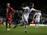 Michael Tonge celebrates scoring Leeds's first over Southampton
