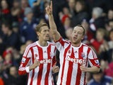Charlie Adam celebrates scoring for Stoke