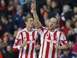 Charlie Adam celebrates scoring for Stoke