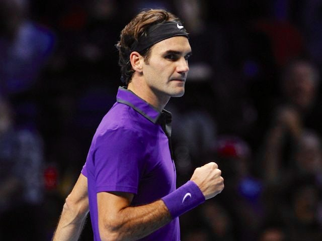 Roger Federer in the ATP Finals semi-final against Andy Murray