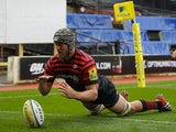 Alistair Hargreaves scores a try for Saracens