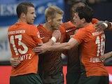 Aaron Hunt celebrates scoring for Werder Bremen