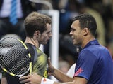 Jo-Wilfried Tsonga and Andy Murray at the end of their ATP Finals encounter