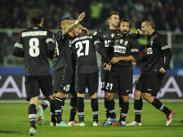 Fabio Quagliarella celebrates with Juventus teammates