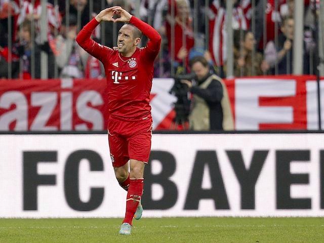 Franck Ribery celebrates scoring for Bayern