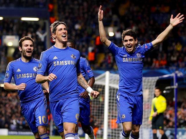 Fernando Torres celebrates scoring for Chelsea