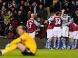 Aston Villa players celebrate