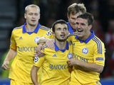 Aliaksandr Volodko scores for BATE Borisov on September 19, 2012