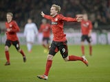 Andre Schuerrle opens the scoring for Bayer Leverkusen on November 17, 2012