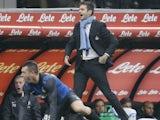Inter Milan boss Andrea Stramaccioni shouting on November 18, 2012