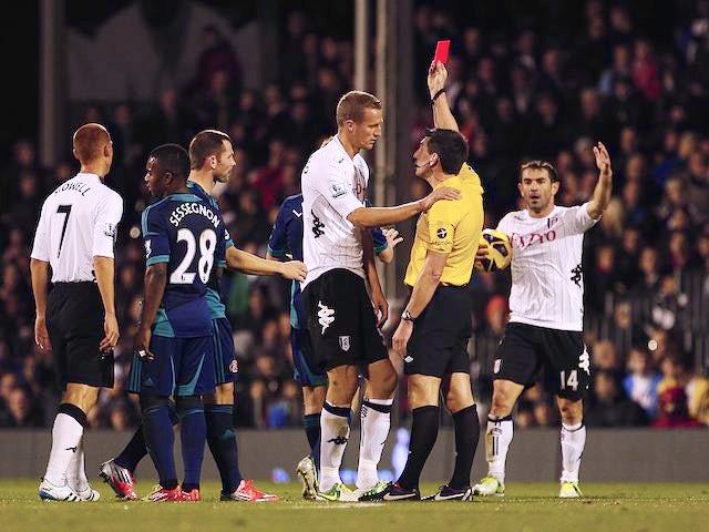 Alternative angle of Brede Hangeland being sent off for Fulham on November 18, 2012