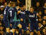 Carlos Cuellar celebrates with Sunderland teammates after scoring on November 18, 2012