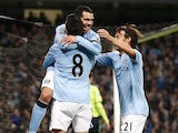 Carlos Tevez scores his second for City on November 17, 2012