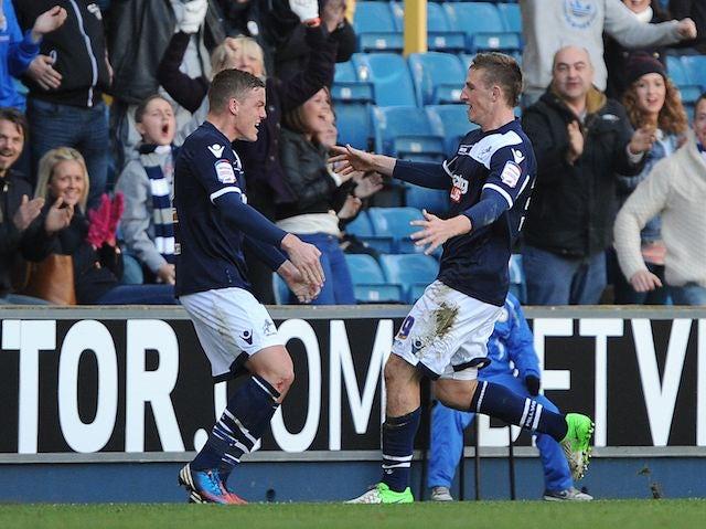 Chris Wood celebrates scoring for Millwall with Alan Dunne on November 18, 2012