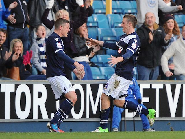 Chris Wood celebrates scoring for Millwall with Alan Dunne on November 18, 2012