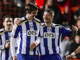 Cillian Sheridan celebrates his goal for Kilmarnock with Michael Nelson on November 16, 2012