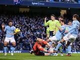 David Silva scores the opener for Manchester City on November 17, 2012