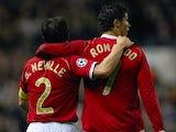Gary Neville and Cristiano Ronaldo celebrate a Manchester United goal