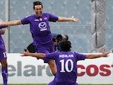 Luca Toni celebrates scoring for  Fiorentina on November 18, 2012