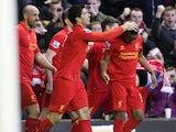Luis Suarez celebrates after scoring for Liverpool on November 17, 2012
