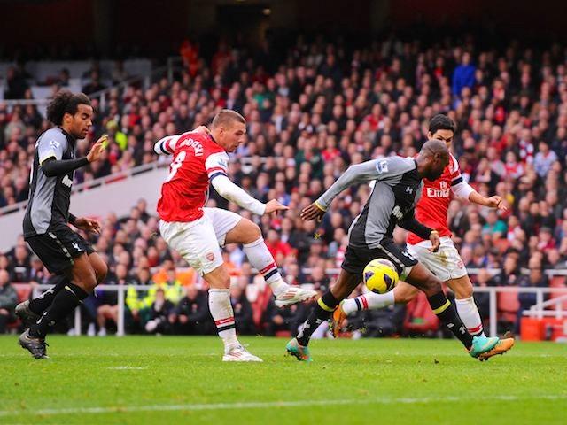 Lukas Podolski scores Arsenal's second on November 17, 2012