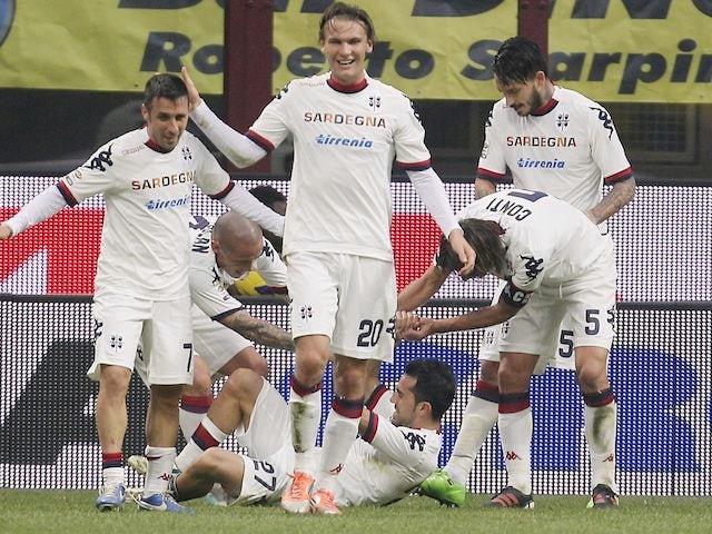 Marco Sau scores for Cagliari on November 18, 2012