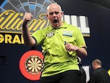 Michael van Gerwen celebrates on November 17, 2012