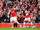 Olivier Giroud scores for Arsenal on November 17, 2012