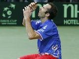 Radek Stepanek celebrates his win in the Davis Cup on November 18, 2012
