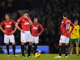 Robin van Persie and Javier Hernandez stand miserable after Norwich go ahead on November 17, 2012
