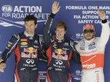 Sebastian Vettel, Mark Webber and Lewis Hamilton at US Grand Prix qualifying on November 17, 2012