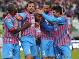 Sergio Almiron celebrates scoring for Catania on November 18, 2012