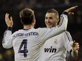 Real Madrid's Sergio Ramos and Karim Benzema celebrate on November 17, 2012