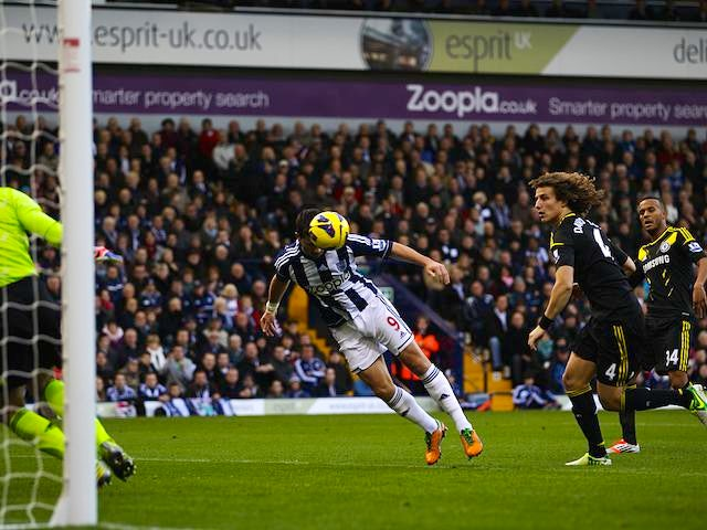 Shane Long scores the opener for West Brom on November 17, 2012