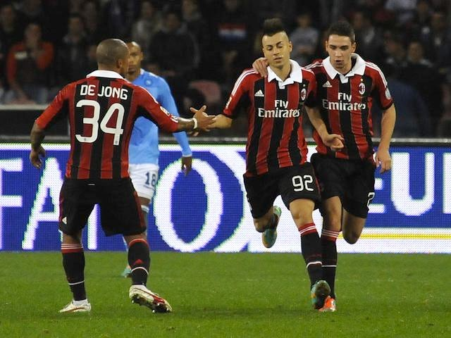 Stephan El Shaarawy celebrates his brace for AC Milan against Napoli on November 17, 2012