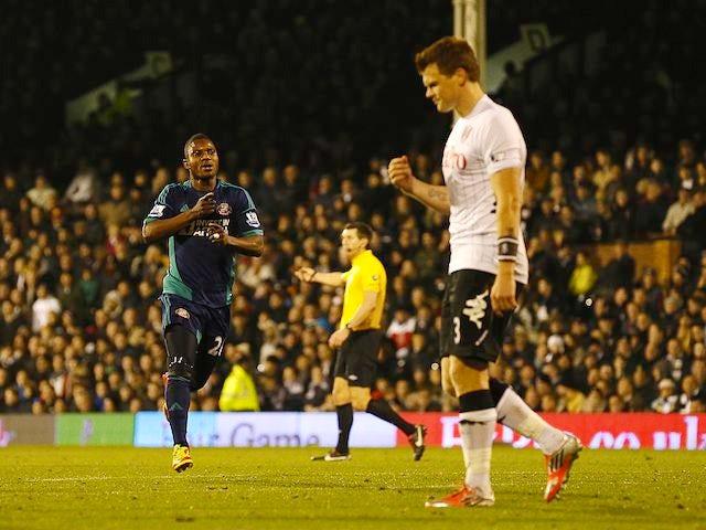 Stephane Sessegnon celebrates scoring Sunderland's third on November 18, 2012