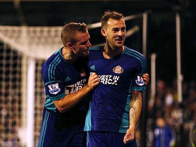 Steven Fletcher celebrates scoring for Sunderland with Lee Cattermole on November 18, 2012
