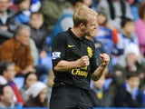 Steven Naismith celebrates scoring Everton's opener on November 17, 2012