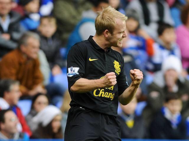Steven Naismith celebrates scoring Everton's opener on November 17, 2012